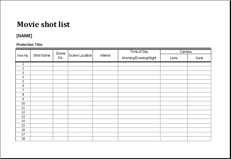 Charming Movie Shot List Template