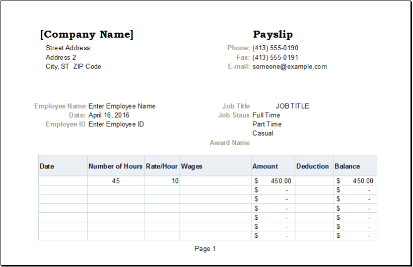 Perfect Excel Templates Intended Payslip Template Free Download