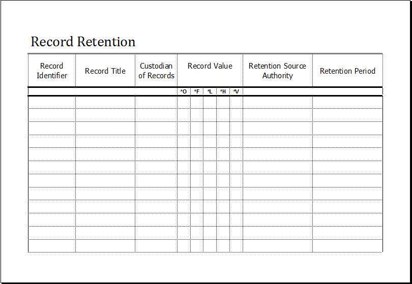 record retention schedule template for excel excel templates