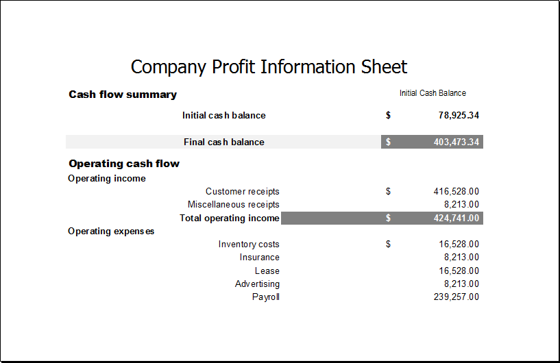 Company profit information sheet