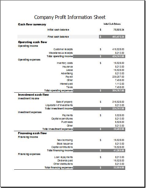 Company profit information sheet