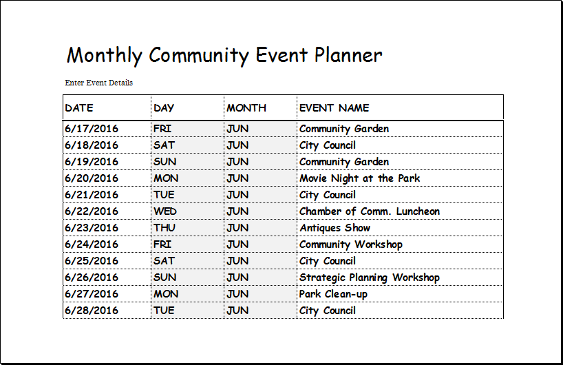 community event planner template for excel