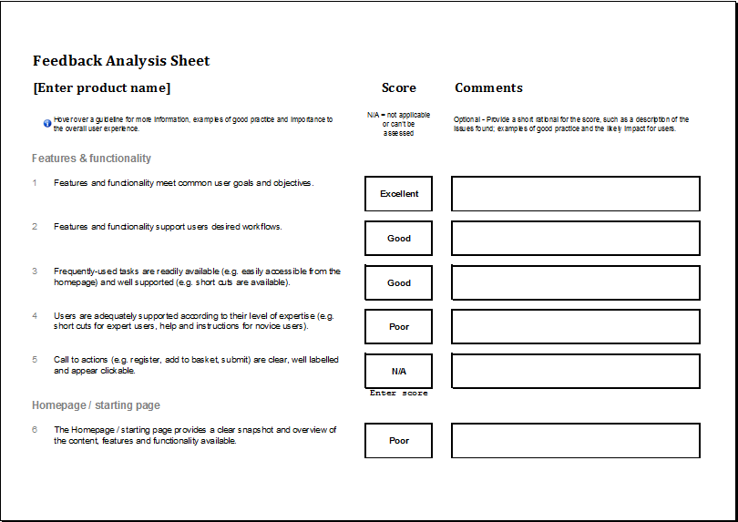feedback analysis worksheet template excel templates