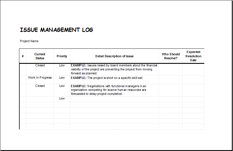 Issue Management Log  Project Log Template
