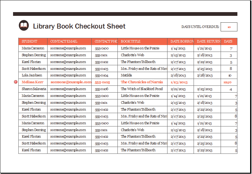 Library Book Checkout Sheet Template  xls | Excel Templates