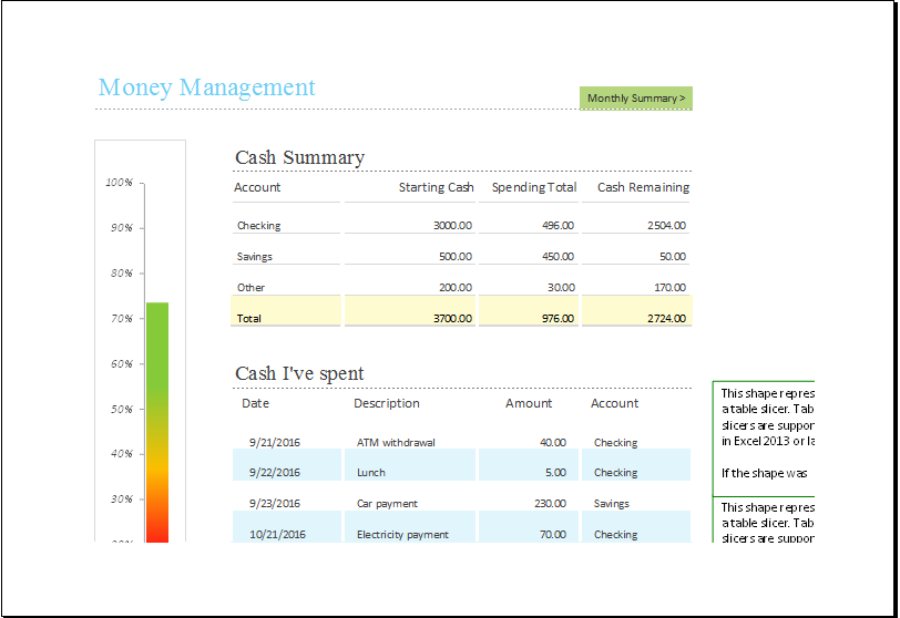 Money Management Template for EXCEL xls Excel Templates