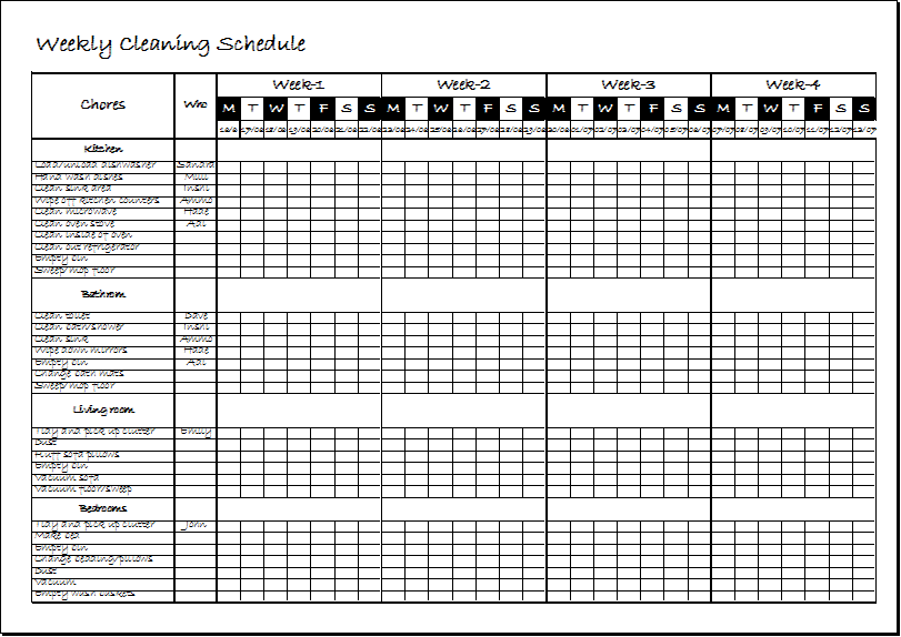 Weekly Clean Up Sheet for family members