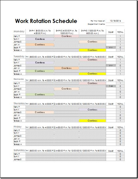 Employee Work Rotation Schedule Template For Excel  Excel Templates