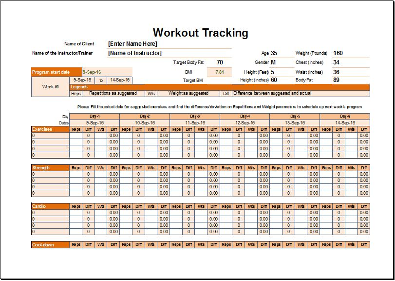 Workout Schedule & Tracker Template For Excel | Excel Templates