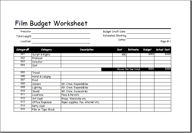 Film Budget Worksheet Template for EXCEL – Budget Worksheet
