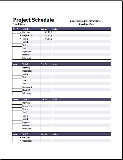 Business Project Schedule Timeline Templates Excel Templates
