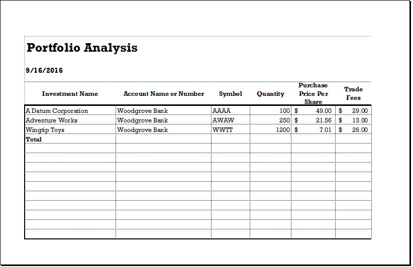Customer Portfolio Analysis Sheet