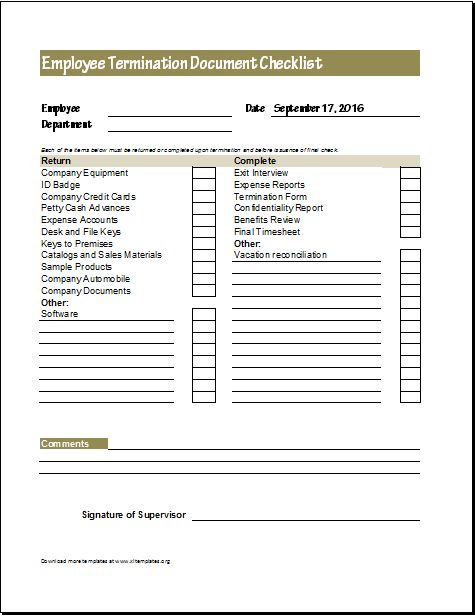Employee Termination Document Checklist