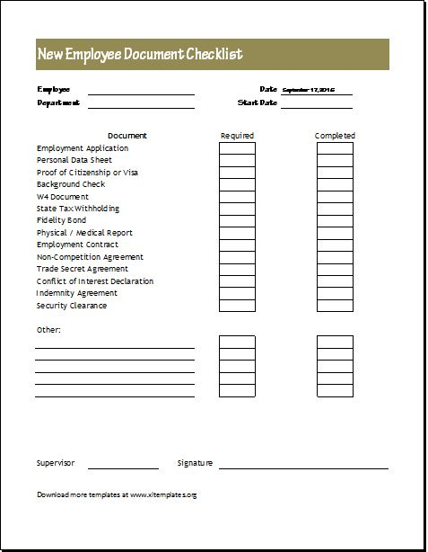 New Hire Checklist Template New Employee Orientation Checklist
