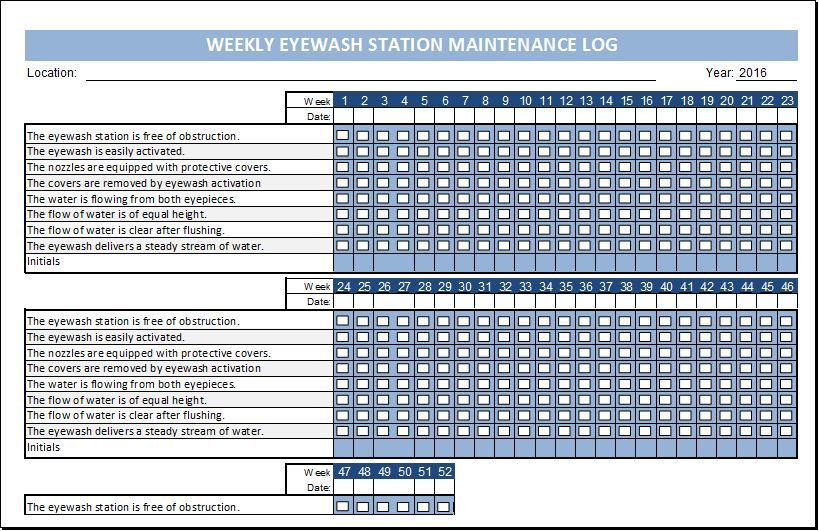 Eyewash Station Maintenance Log Template  Excel Templates
