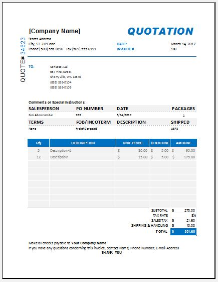Price Quotation Templates For Ms Excel Excel Templates