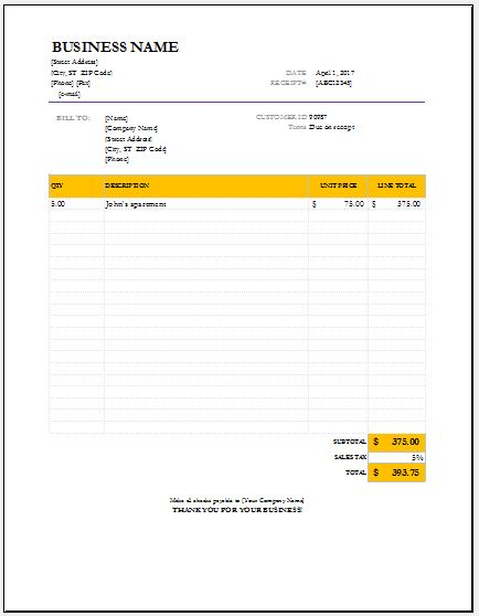 Sales Receipts Contents & Templates for MS Excel | Excel Templates