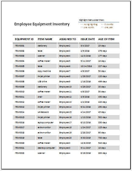 Employee Equipment Inventory Sheet