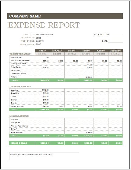 Expense Report Travel Expense Report Template View Full Size