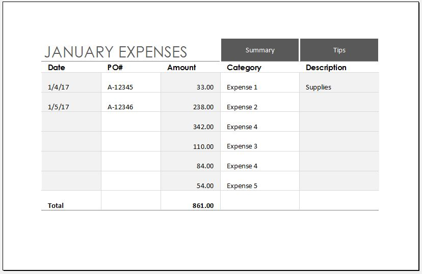 Expense Trends Budget Template for MS Excel