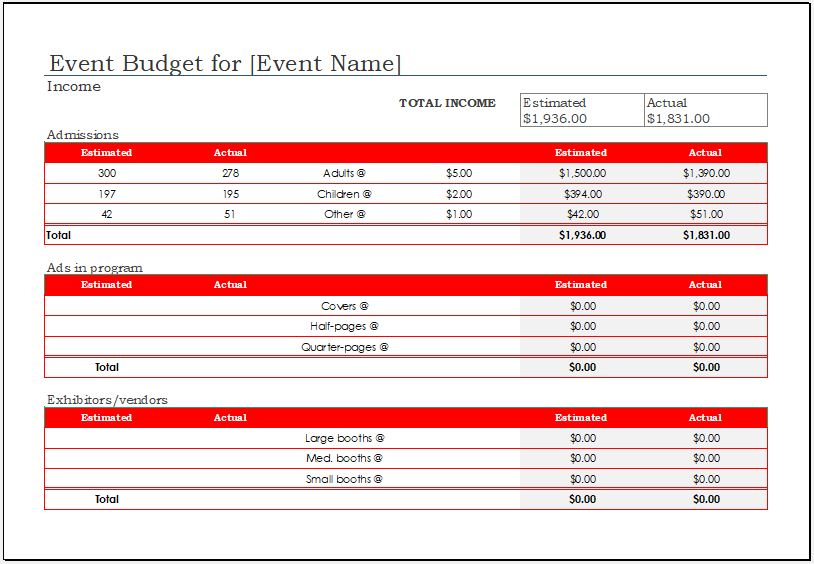 event budget template 2018 for ms excel excel templates. Black Bedroom Furniture Sets. Home Design Ideas