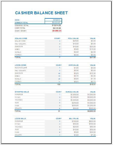 Cash Drawer Reconciliation Sheet Template | Excel Templates