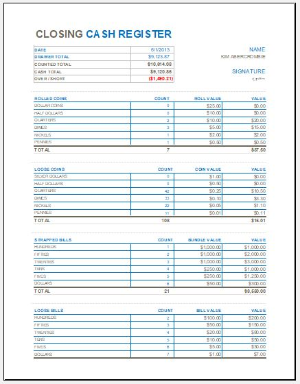 Closing cash Register Template