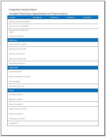 Competitor analysis sheet template for excel excel templates for Competitor analysis template xls