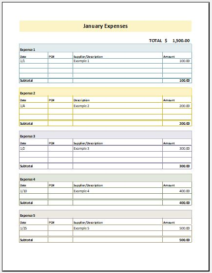 Monthly Expense Report Template For Excel Excel Templates