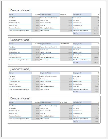Employee pay stub template for ms excel excel templates employee pay stub template pronofoot35fo Gallery