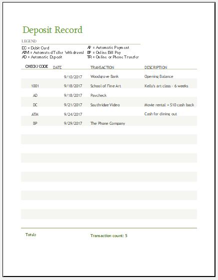 deposit record template for ms excel