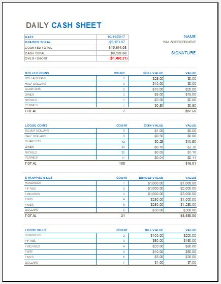daily cash sheet template for ms excel