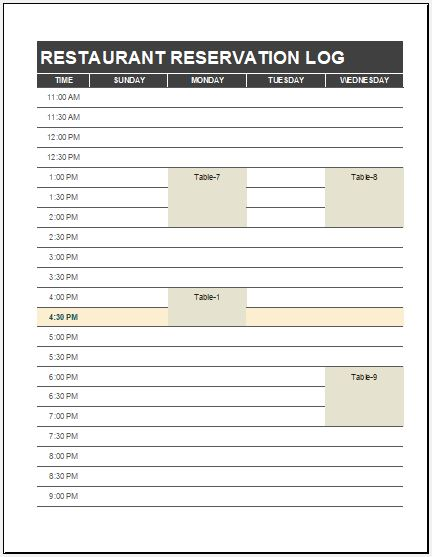 restaurant reservation log template ms excel