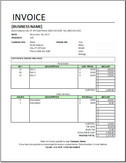 Auto Repair Invoice Template For Ms Excel Excel Templates