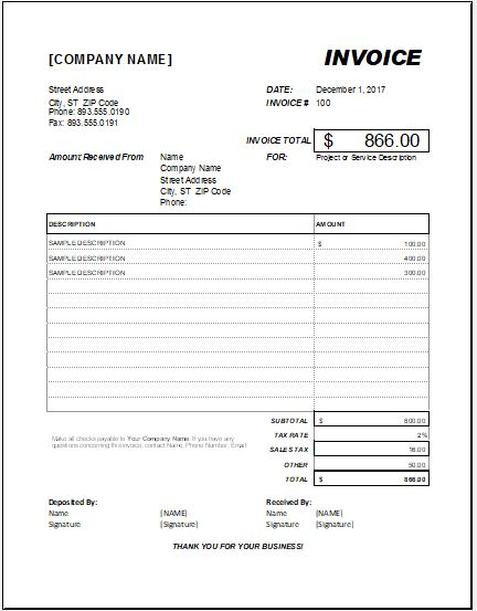 advance payment invoice for ms excel template