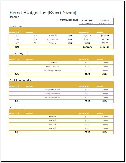 Any event expense calculator worksheet