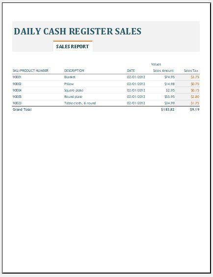 Daily Revenue Spreadsheet