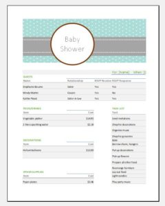 Baby shower party budget template