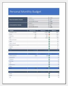 One Person Budget Sheet Template