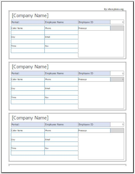 Phone Message Slip Templates For Ms Excel  Excel Templates