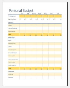 Single person budget sheet for one year