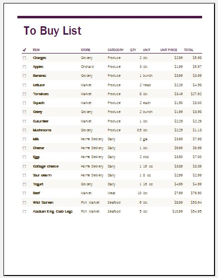 to buy list template for ms excel