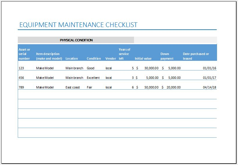 equipment maintenance list templates