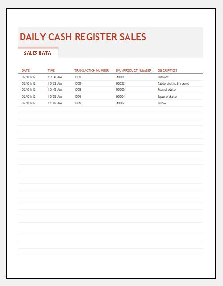End of day cash register report template