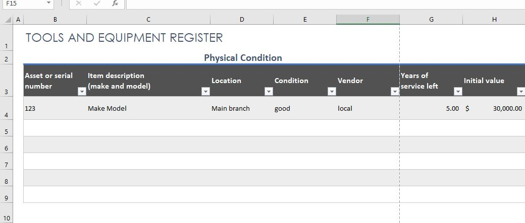 Tools and Equipment Register Template