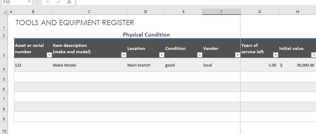 Free Equipment Register Template