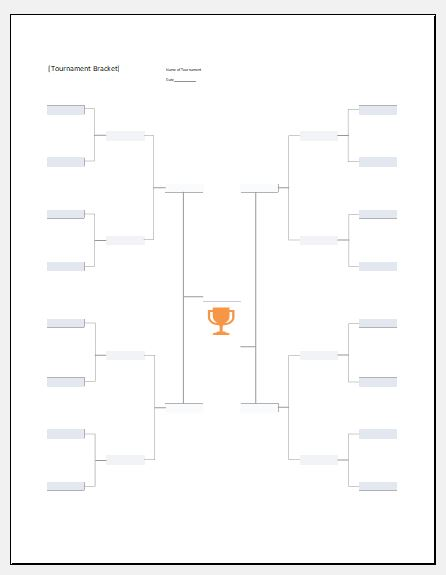 Football tournament bracket template