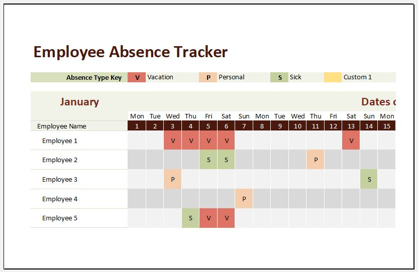 employee absence tracker templates for ms excel excel templates
