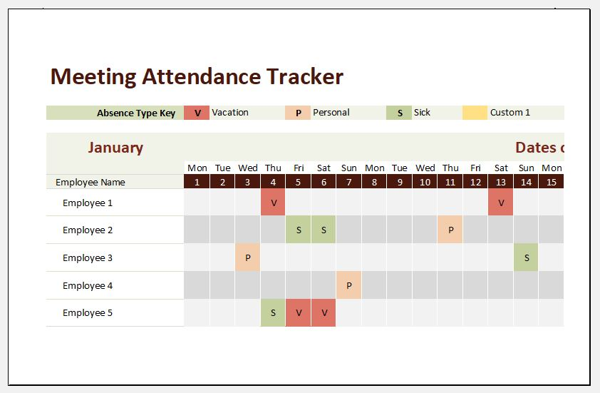 meeting attendance tracker template for excel