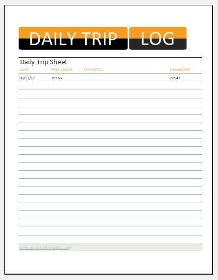 Daily trip sheet template
